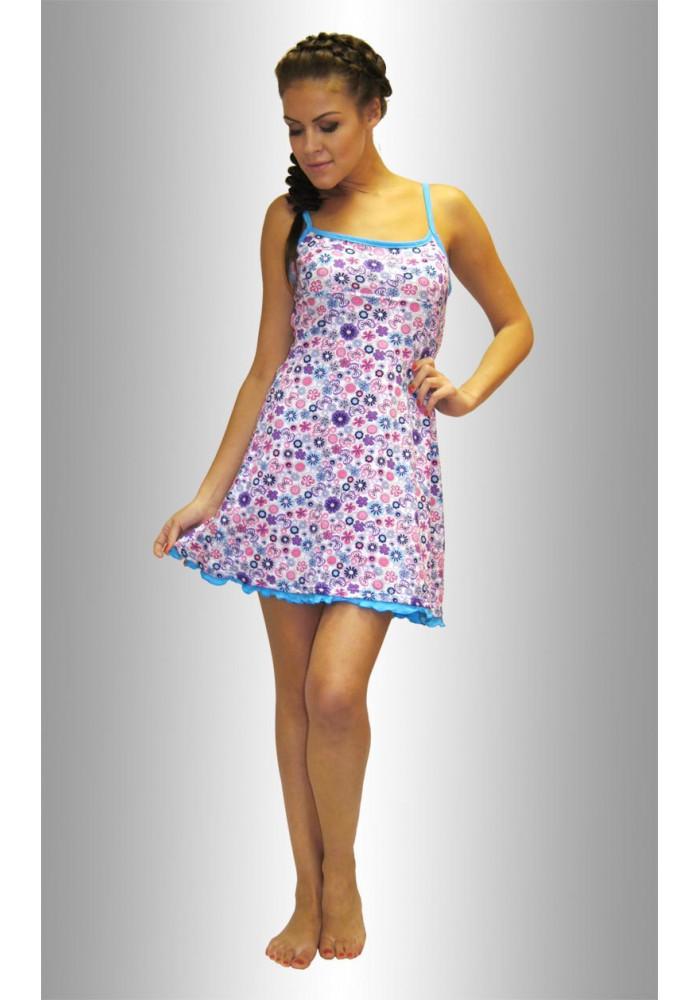 """НЕЖКА Ночная сорочка """"Бабочки-цветочки синие и розовые на белом"""""""