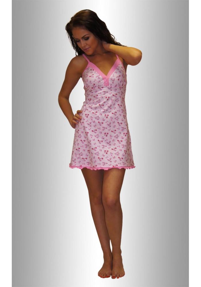"""НЕЖКА Ночная сорочка """"Цветы кустики на розовом розовые"""""""