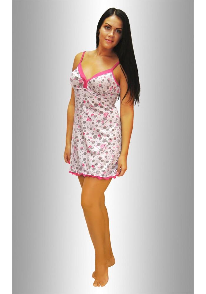 """НЕЖКА Ночная сорочка """"Круги серые цветочки розовые на белом"""""""