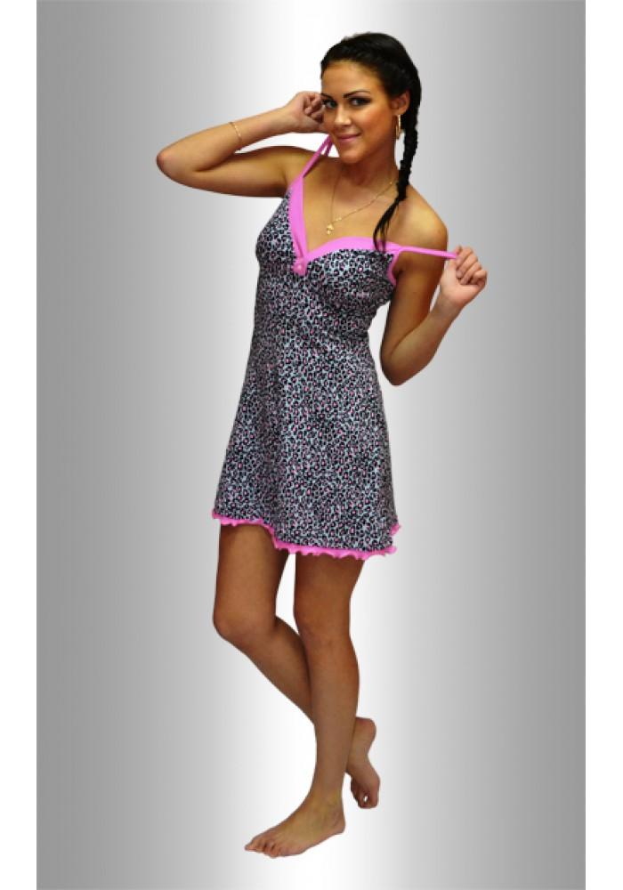 """НЕЖКА Ночная сорочка """"Леопард розовый и черный на сером"""""""