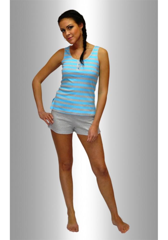 """ПИЖАМА НЕЖКА Комплект майка с шортами """"Полоса широкая голубая на меланже"""""""
